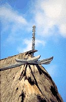 Carved wooden beams decorating the upper part of the roof, village of Wunga, East Sumba