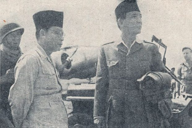 Sukarno and Mohammad Hatta before their exile to Brastagi, North Sumatra by B-25. Yogyakarta.