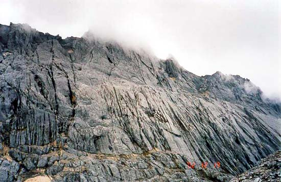 The north wall of Puncak Jaya seen from basecamp.