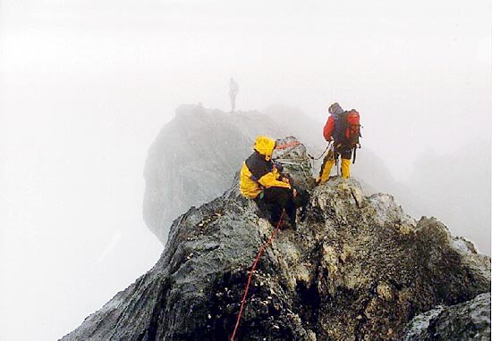 Climbing the gap in the summit ridge