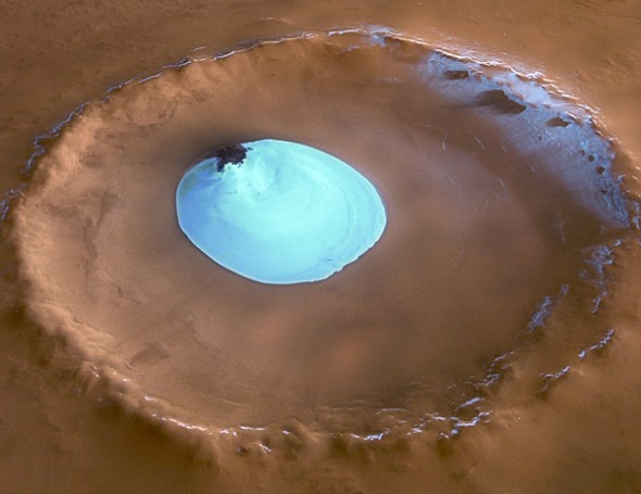 Ice in Mars crater