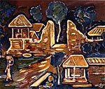 Village Scene. Arie Smit Oil on Canvas 1990 Sumertha Gallery