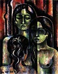 Three Girls. Han Snel Oil on Canvas 1967 Sumertha Gallery