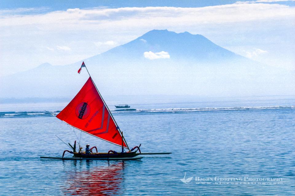 Indonesia, Bali, Denpasar, Sanur. From Sanur beach with Gunung Agung in the background