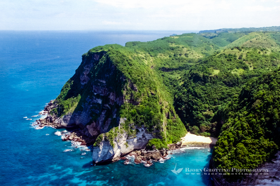 Indonesia, Nusa Tenggara, South Lombok. The southern coast of Lombok is not easily accessible with its high cliffs and lack of roads. This is south on the soutwestern peninsula (from helicopter).