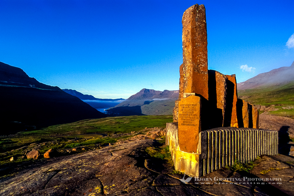 Monument close to Seydisfiordur in the Eastfjords of Iceland.