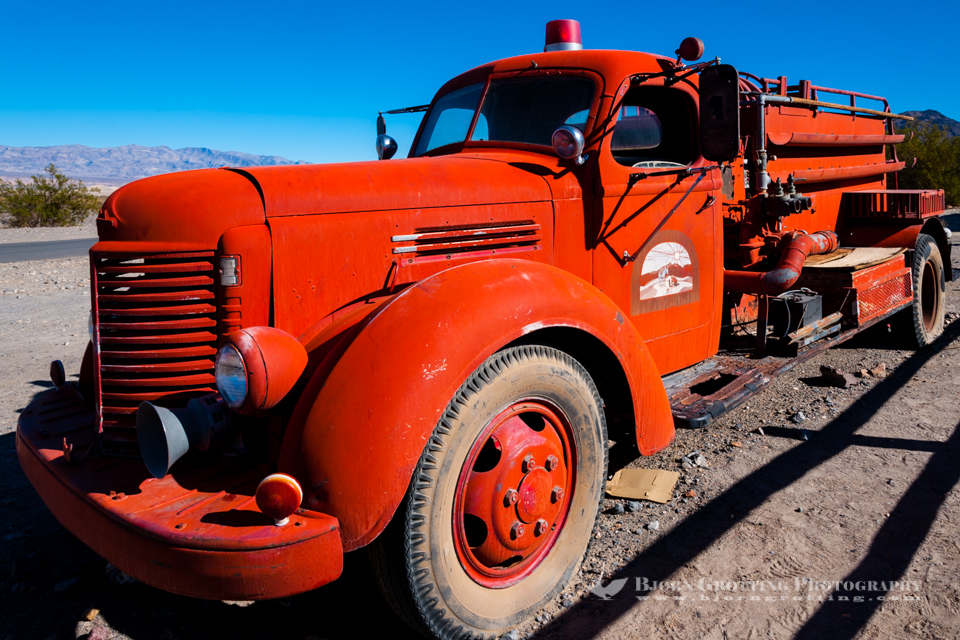 United States, California, Death Valley. Old fire truck at Stovepipe Wells