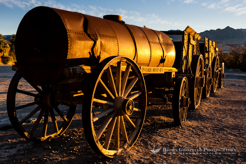 United States, California, Death Valley. Furnace Creek. Mule Wagon from the Borax mining.