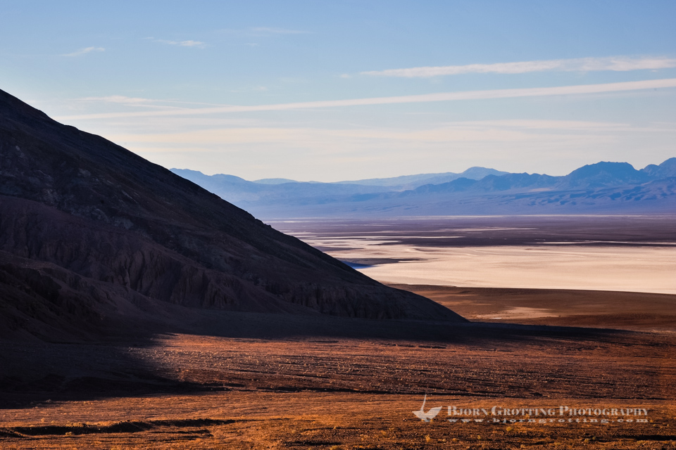 United States, California, Death Valley. View over Badwater Basin from Natural bridge road. Morning sunrise.