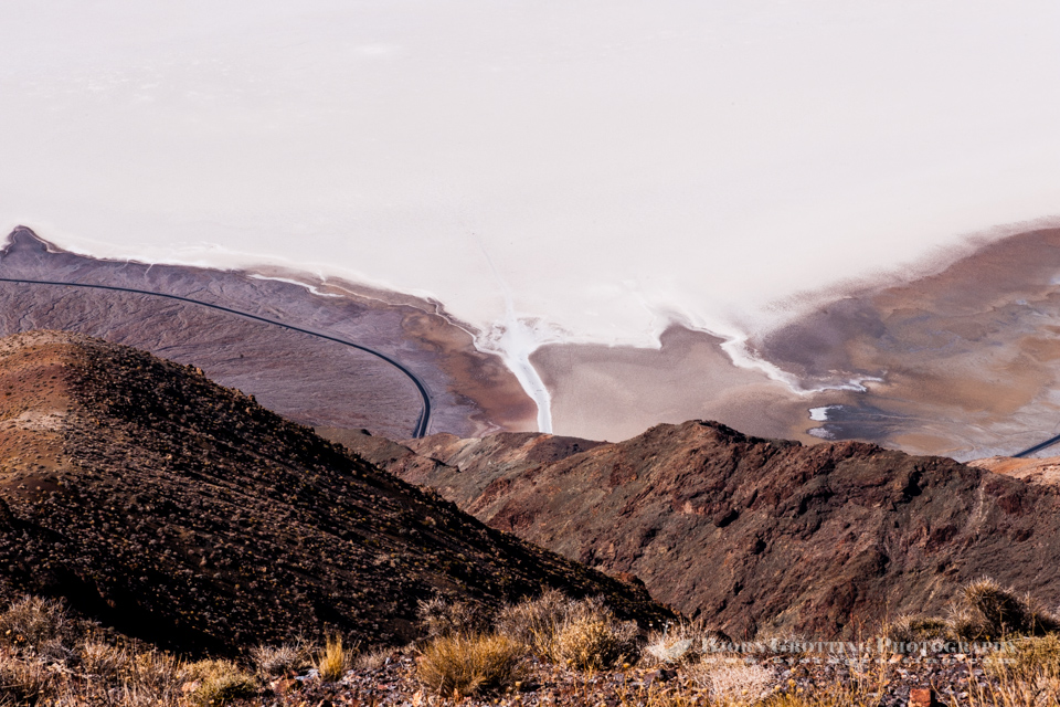 United States, California, Death Valley. From Dante's View 5,500 feet (1,700 m) above sea level. Badwater Basin.