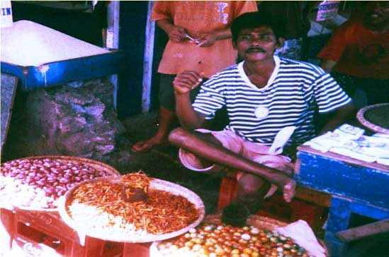 Gorontalo man selling chilli
